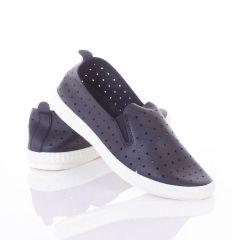 Lyukacsos, oldalt gumis, rugalmas talpú női belebújós műbőr cipő (L81647,L81648)