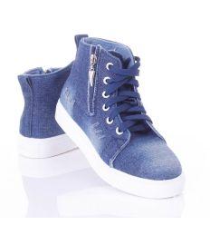 a731f2426e Szaggatott-koptatott, cipzáros-fűzős, magasszárú, női farmeres cipő  (L72413) ...