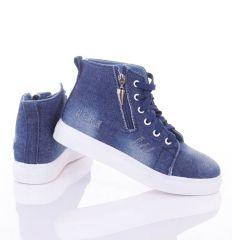 Szaggatott-koptatott, cipzáros-fűzős, magasszárú, női farmeres cipő (L72413)