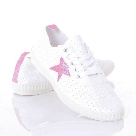 Csillag mintás, lyukacsos, fűzős női műbőr tornacipő (L81636)