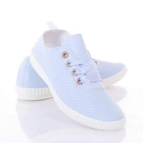 Selyem szalag fűzős, lyukacsos, női műbőr tornacipő (L81634)