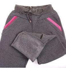 Vastag bolyhos csíkos zsebes női melegítő nadrág (Z-506)