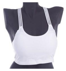Lézervágott, lyukacsos anyagú, hátán horgolt pántú, kivehető szivacsos női top (5098)
