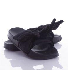 Bársony szalagos, masnis pántú női gumipapucs (T985A)
