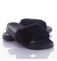 Pihe-puha szőrmés pántú női gumipapucs (T1065)