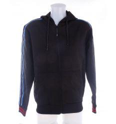 Ujján csíkos, elöl zsebes, kapucnis, cipzáros férfi melegítő felső, pulóver (8E-1053)