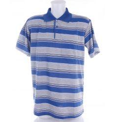 Csíkos, galléros, pamutos, elöl zsebes férfi rövid ujjú felső, póló (301)